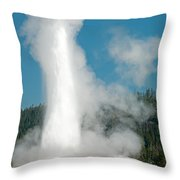 Old Faithful In Upper Geyser Basin Inyellowstone National Park Throw Pillow