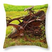 Old Farm Equipment Hardin Montana Throw Pillow