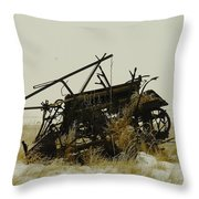 Old Farm Equipment Northwest North Dakota Throw Pillow by Jeff Swan