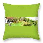 Old Farm House And Pond Throw Pillow