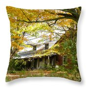 Old Farm House Behind Color Throw Pillow