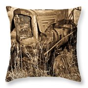Old Farm Tractor In Sepia 1 Throw Pillow