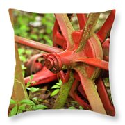 Old Farm Tractor Wheel Throw Pillow