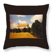 Old Farmhouse Landscape Throw Pillow
