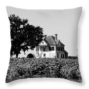 Old Farmhouse Surrounded By Cotton Throw Pillow