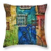 Old Fashion Bike And Blue Wall Throw Pillow