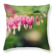 Old Fashioned Bleeding Hearts Throw Pillow