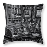 Old Fashioned Doctor's Office Bw Throw Pillow