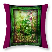 Old Fashioned Merry Christmas - Roses And Babys Breath - Holiday And Christmas Card Throw Pillow