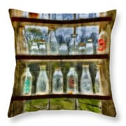 Old Fashioned Milk Bottles Throw Pillow by Susan Candelario