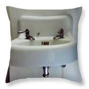 Old Fashioned Sink At The Landmark In Des Moines Washington Throw Pillow