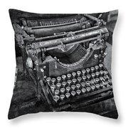 Old Fashioned Underwood Typewriter Bw Throw Pillow