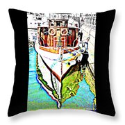 We Will Soon Go Away With The Old Ferry  Throw Pillow by Hilde Widerberg