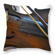Old Fiddle And Bow Still Life 2 Throw Pillow