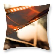 Old Film Strip And Photos Background Throw Pillow by Michal Bednarek