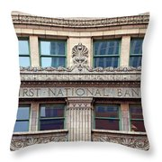 Old First National Bank - Building - Omaha Throw Pillow