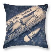 Old Fishing Lures Throw Pillow