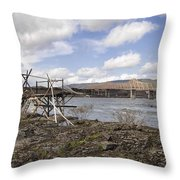 Old Fishing Platform By The Dalles Bridge Throw Pillow