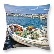 Old Fishing Wooden Boat With Nets Throw Pillow