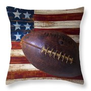 Old Football On American Flag Throw Pillow by Garry Gay