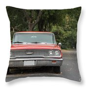 Old Ford Galaxy In The Rain Throw Pillow