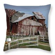 Old Forlorn Decrepid Wooden Barn Throw Pillow