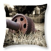 Old Foundry Gear Throw Pillow