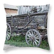 Old Freight Wagon - Montana Territory Throw Pillow