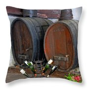Old French Wine Casks Throw Pillow