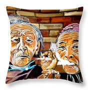 Old Friends Fun Time Throw Pillow