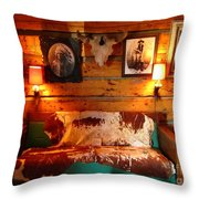 Old Frontier Cabin Throw Pillow