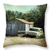 Old Garage And Car In Seligman Throw Pillow