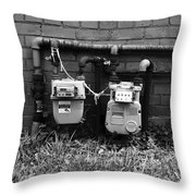 Old Gas Meters Throw Pillow
