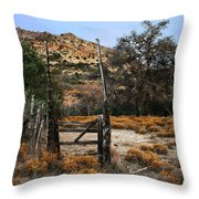 Old Gate At Oak Flats Throw Pillow