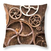 Old Gears In Genoa Nevada Throw Pillow