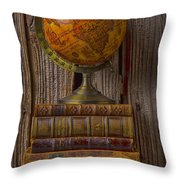 Old Globe On Old Books Throw Pillow