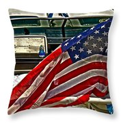 Old Glory And The Bay Throw Pillow