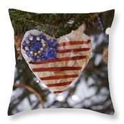 Old Glory Heart Throw Pillow