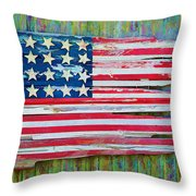 Old Glory In Wood Impression Throw Pillow