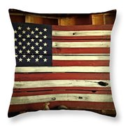 Old Glory In Wood Throw Pillow