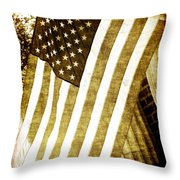 Old Glory Sepia Rustic Throw Pillow