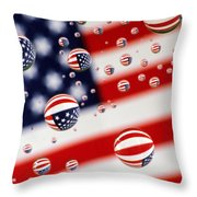 Old Glory Water Drops Throw Pillow