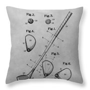 Old Golf Club Patent Illustration Throw Pillow