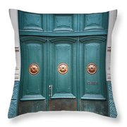 Old Green Door Throw Pillow