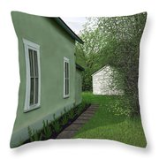 Old Green House Throw Pillow