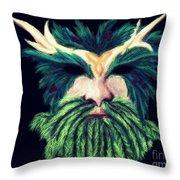 Old Green Man Winter Throw Pillow