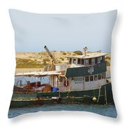 Old Green Scow Morro Bay Harbor Throw Pillow