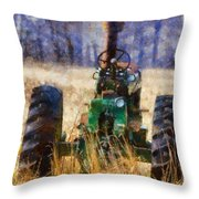 Old Green Tractor On The Farm Throw Pillow