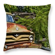 Old Green Truck Throw Pillow