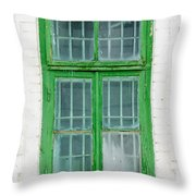 Old Green Wooden Window Throw Pillow